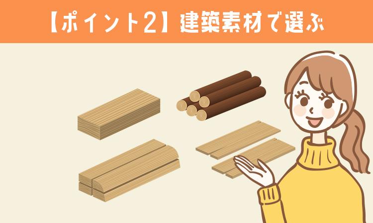 【ポイント2】建築素材で選ぶ