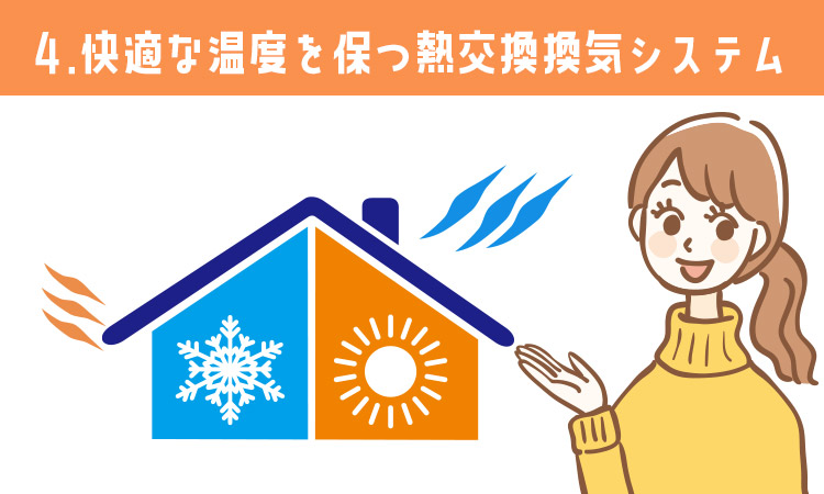 メリット4:快適な温度を保つ熱交換換気システム