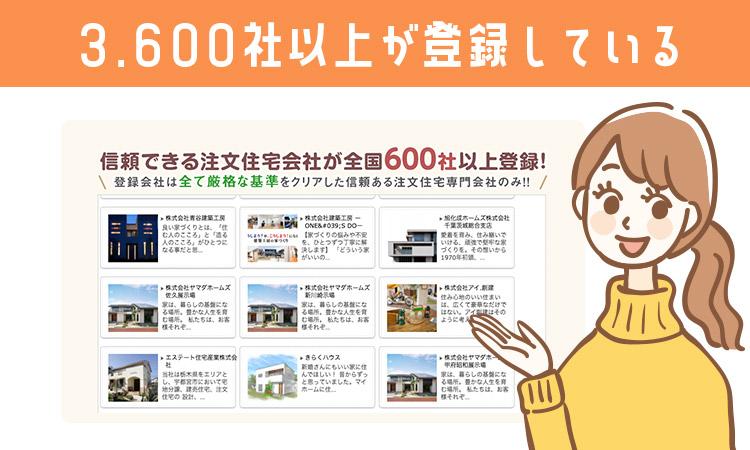 タウンライフ家づくりには600社以上が登録している
