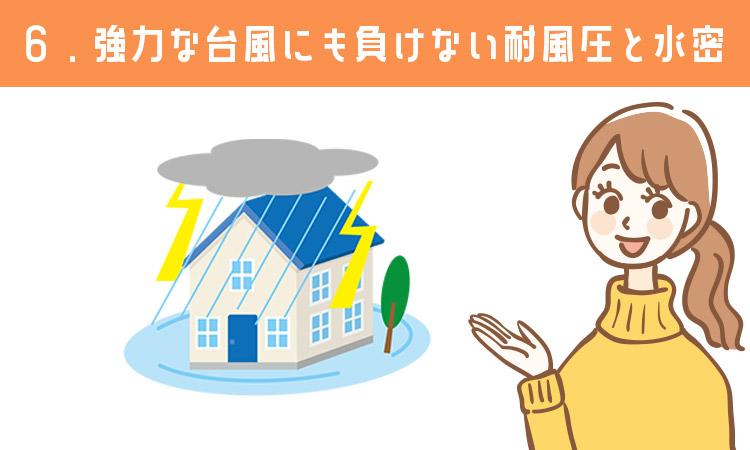 強力な台風にも負けない耐風圧と水密